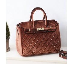 Велюровая женская сумка коричневая