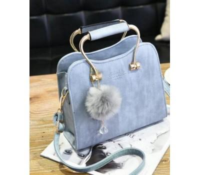 Красивая каркасная женская сумка голубая