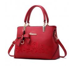 """Женская сумка красная с узорами """"Розы"""""""