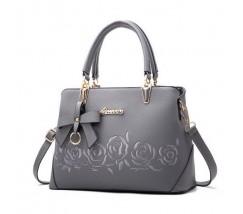 """Женская сумка серая с узорами """"Розы"""""""