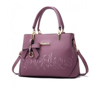 """Женская сумка фиолетовая с узорами """"Розы"""""""