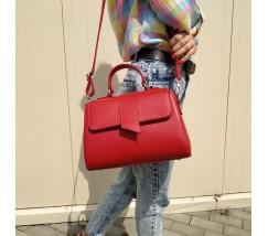 Женская вместительная сумка-саквояж красная