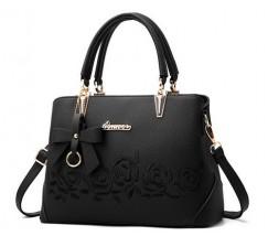 """Женская сумка черная с узорами """"Розы"""""""