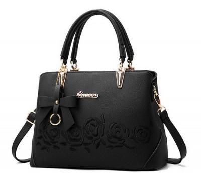 """Жіноча сумка чорна з візерунками """"Троянди"""""""