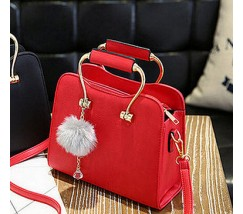 Гарна каркасна жіноча сумка червона