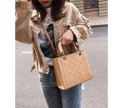 Каркасная женская сумка с узором коричневая