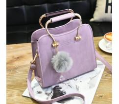 Гарна каркасна жіноча сумка бузкова