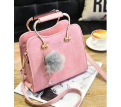 Гарна каркасна жіноча сумка рожева