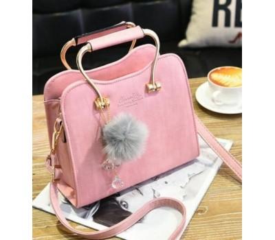 Красивая каркасная женская сумка розовая