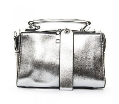 Женская вместительная сумка серебристая