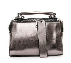 Женская вместительная сумка темно-серебристая