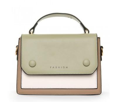 Двухцветная женская сумка зелено-белая