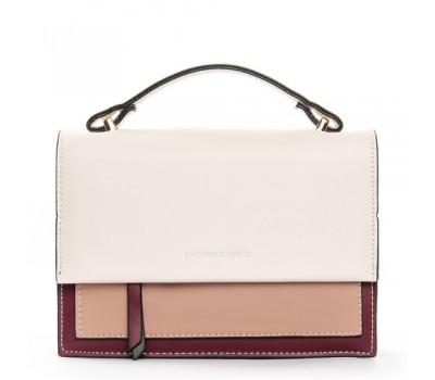 Женская двухцветная сумка бело-бордовая