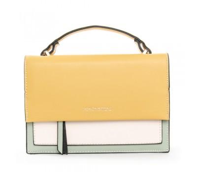 Женская двухцветная сумка желто-белая