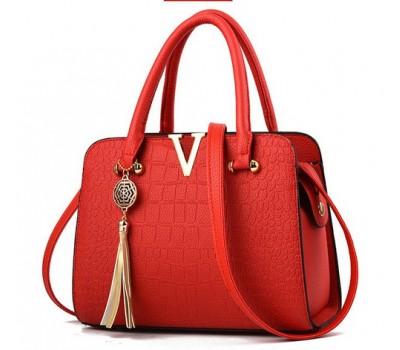 Каркасная женская сумка красная