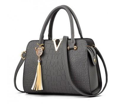 Каркасная женская сумка серая