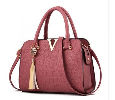 Каркасная женская сумка розовая