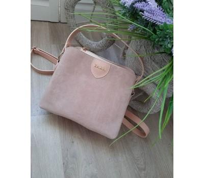 Женская сумка с замшевой вставкой розовая