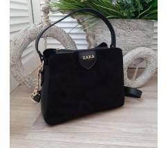 Женская сумка с замшевой вставкой черная
