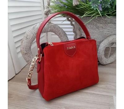 Женская сумка с замшевой вставкой красная