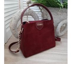Женская сумка с замшевой вставкой бордовая
