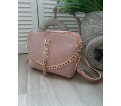 Женская сумка с замшем в стиле YSL розовая