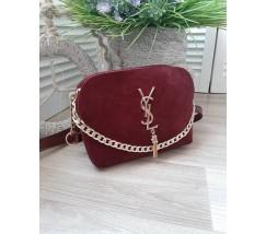 Женская сумка с замшем в стиле YSL бордовая