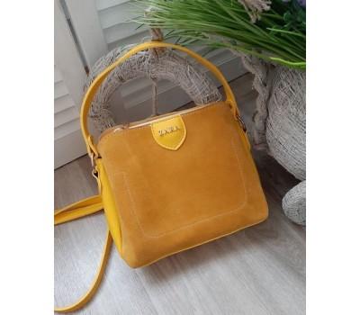 Женская сумка с замшевой вставкой желтая