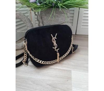 Женская сумка с замшем в стиле YSL черная