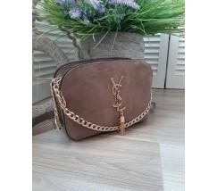 Женская сумка с замшем в стиле YSL серая