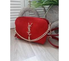 Женская сумка с замшем в стиле YSL красная