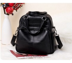 Женская сумка-рюкзак кожзам черная