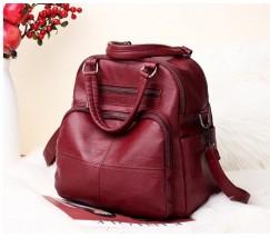 Женская сумка-рюкзак кожзам бордовая