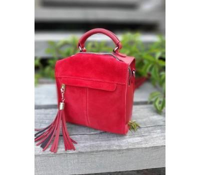 Замшевая женская сумка-рюкзак красная