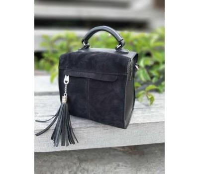 Замшевая женская сумка-рюкзак черная