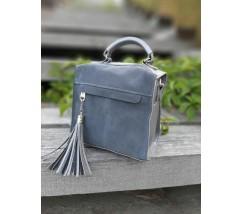 Замшевая женская сумка-рюкзак серая