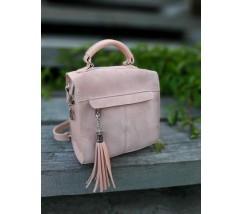 Замшевая женская сумка-рюкзак розовая