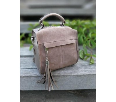 Замшевая женская сумка-рюкзак бронзовая