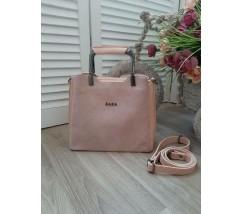 Замшевая женская сумка среднего размера розовая
