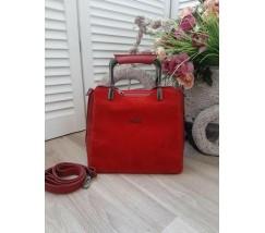 Замшевая женская сумка среднего размера красная