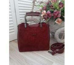 Замшевая женская сумка среднего размера бордовая