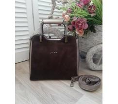 Замшевая женская сумка среднего размера бронзовая