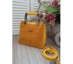 Замшевая женская сумка среднего размера желтая