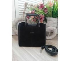 Замшевая женская сумка среднего размера черная