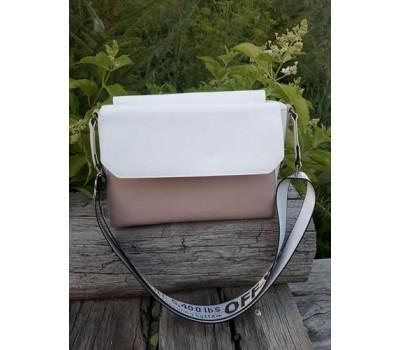 Двухцветная женская сумка бело-коричневая