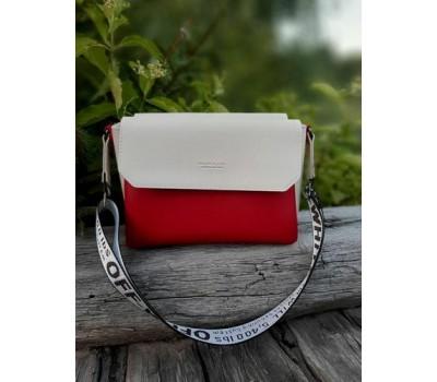 Двухцветная женская сумка красно-бежевая