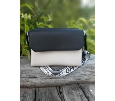 Двухцветная женская сумка черно-белая