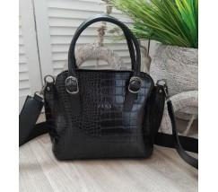 Женская сумка кожзам под кожу змеи черная