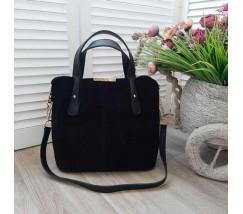 Вместительная сумка из натуральной замши черная