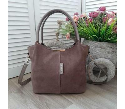 Замшевая женская сумка бежевая